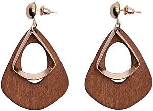 Occitop Vintage Geometric Hollow Wood Water Drop Dangle Earrings Women Jewelry