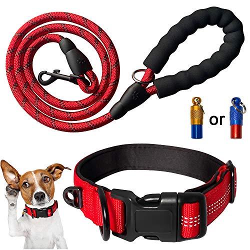 Mauts Juego de Collares y Correa para Perros Grandes, medianos y pequeños (3 Piezas) (Rojo, pequeña)