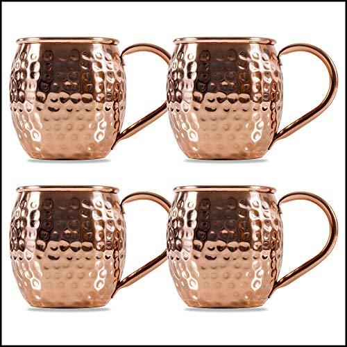 Sir Finley Monkey Moscow Mule Becher (4er Set), Kupferbecher gehämmert, hält Cocktails länger kalt, original Copper Mug Geschenk (100% Kupfer), Gin Mug 450ml (Design Fass)
