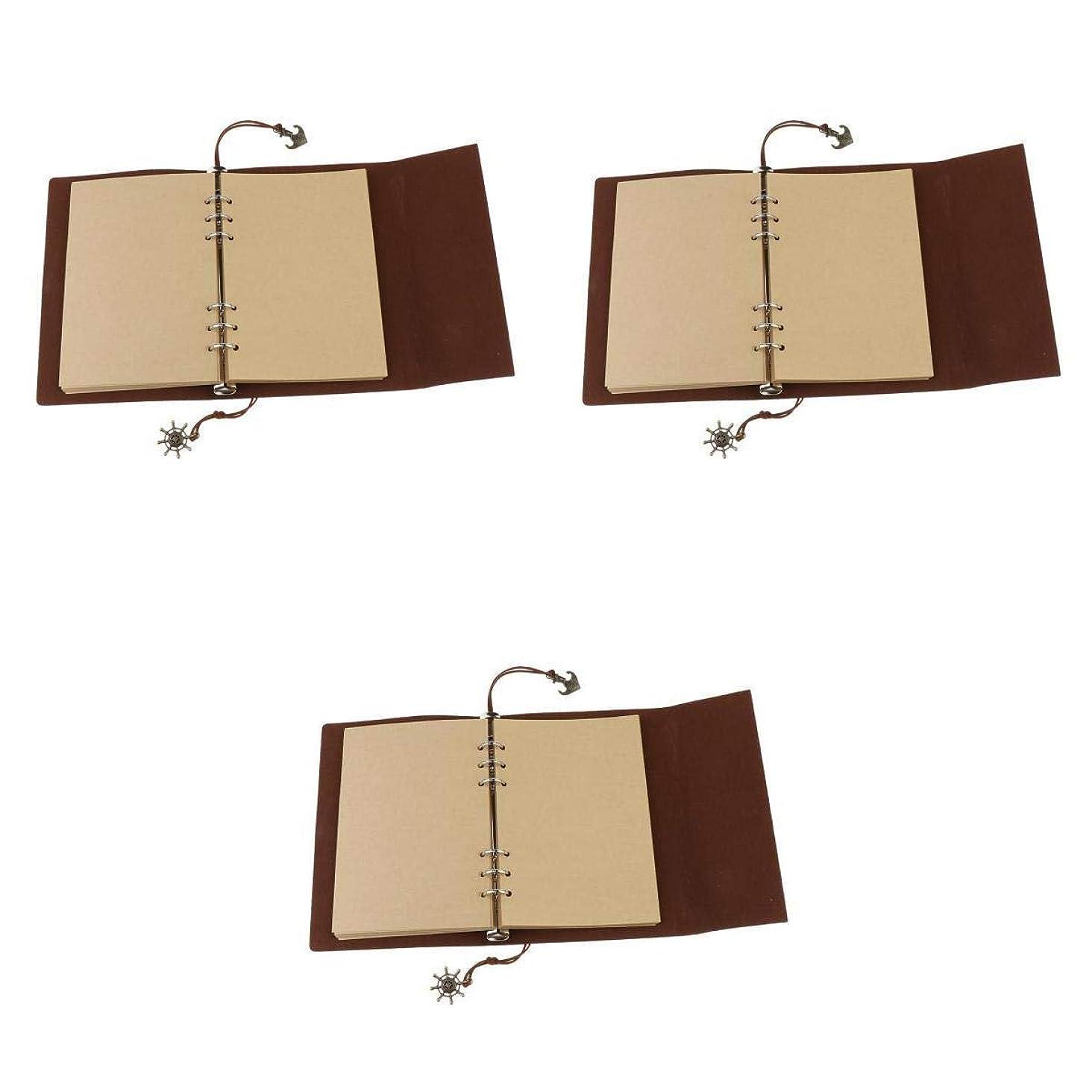 Fenteer A5ノート 旅行ノート 手帳ノート バインダー 空白 クラフト紙 持ち運び可能 80枚 3冊