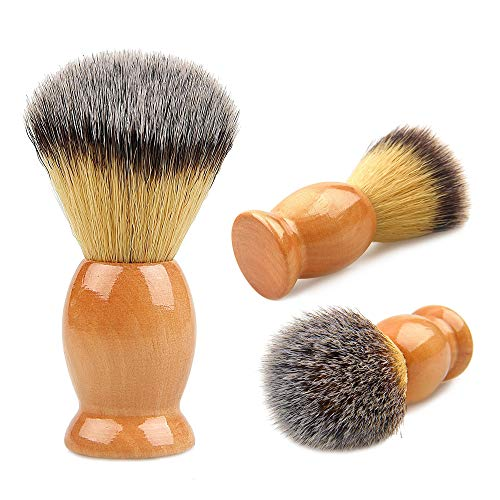 JIAMEI Upgraded 100% Badger Pure Hair Shaving Brush For Men With Classic Color Top Wooden handle with best holder, Men Luxury Professional Hair Salon Tool,The Best shaving Brush The Best Shave of Life