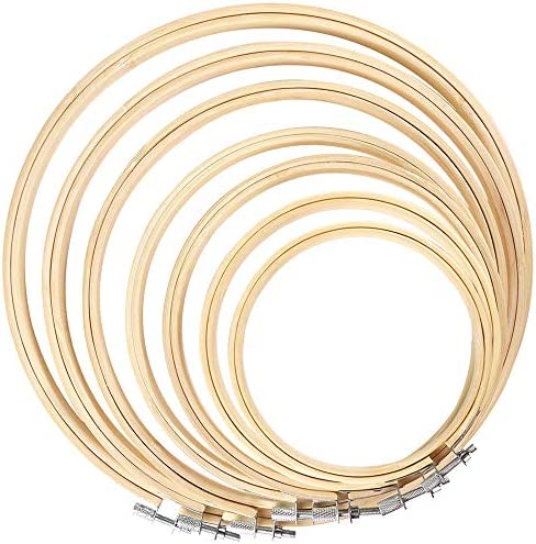 Caydo 7 Pieces 7 Sizes Embroidery Hoops Set 4 inch to 12 inch Bamboo Circle Cross Stitch Hoop product image