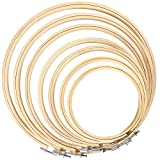 Caydo 7 Pieces 7 Sizes Embroidery Hoops Set 4 inch to 12 inch Bamboo Circle Cross Stitch Hoop Rings for Craft Sewing and Ornaments