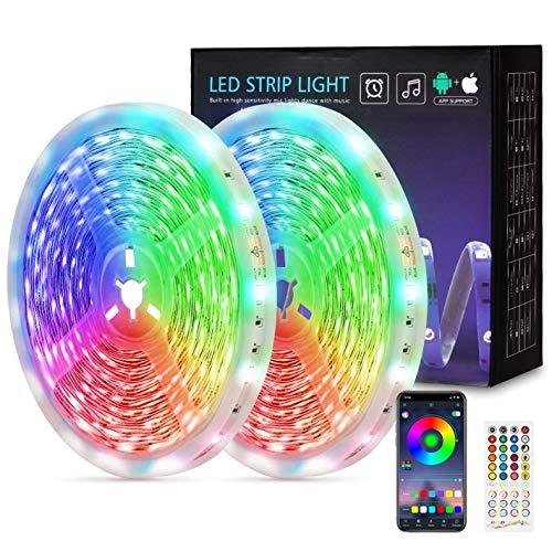 Fortand Ruban LED 20M, 2x10m Bande Led 600 LEDs 5050 RGB Bluetooth Ruban LED avec Télécommande à 40 Touches, Synchroniser avec Rythme de Musique Kit de Ruban LED Lumineuse pour Mariage Maison