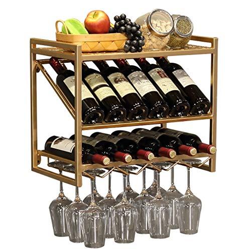 WWZWJ Botellero montado en la pared, soporte de vidrio con patas largas, hierro forjado de doble capa para restaurante/bar colgante de vino (color: A)
