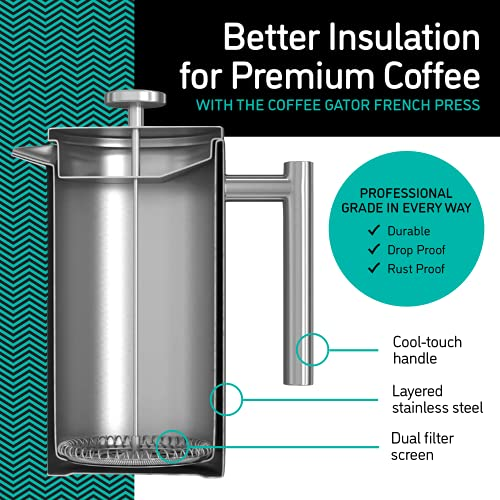 the CoffeeGator Press, its filters, and parts