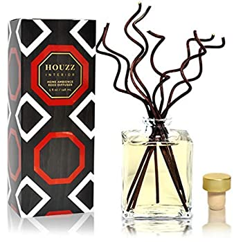 HOUZZ Interior Bourbon Vanilla Reed Diffuser Set – Bourbon Sweet Vanilla & Honey – Made with Natural Essential Oils – No Sulfates or Parabens – Home Gift Idea – Made in The USA