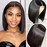 ALI GRACE Bob Wig Human Hair 4x4 Pre Plucked Bleached knots Lace Front Wig 150% Density Brazilian Virgin Human Hair Lace closure wigs 10 inch Natural Color