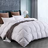 White Goose Down Comforter Lightweight King Size for All Seasons, Cooling and Comfortable(106x90 inches)