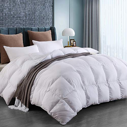 LUOSIFEN White Goose Down Comforter Lightweight King Size for All Seasons, Cooling and Comfortable(106x90 inches)