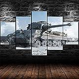 Yidyin Cuadro de 5 Piezas Ssobre Lienzo de Fieltro, Impresión Cuadros Decoracion Salon Modernos Mural Pared Listo Colgar - Tanque de la Segunda Guerra Mundial - 150x80cm
