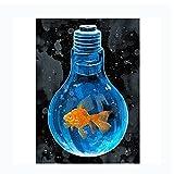 Fish in light bulb poster graffiti wall creativo póster abstracto artista decoración del hogar pared sin marco póster de arte moderno lienzo minimalista 50x70cm / 19.6 'x27.5' / NoFrame