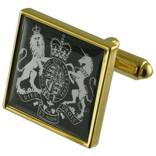 Fatto a mano di gemelli Placcato in oro gemelli Circa 18mm quadrati Selezionare nero dono fatto a mano Pouch