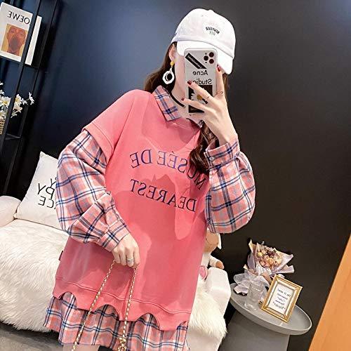 Moda Sudaderas Jersey Sweater Moda Costura Suelta Falso Dos Sudadera Solapa Casual Manga Larga Botones Sudadera De Gran Tamaño L 02