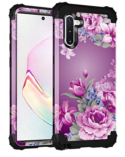 Lontect Compatible Galaxy Note 10 Case Floral 3 in 1 Heavy Duty Hybrid Sturdy Armor High Impact Shockproof Protective Cover Case for Samsung Galaxy Note 10, Purple Flower/Black