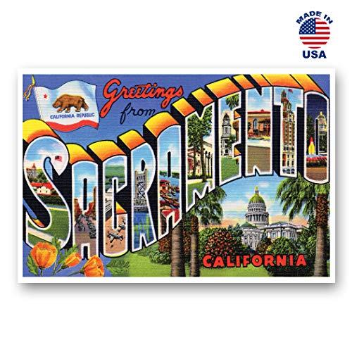 Grußkarten von Sakramentto, Vintage-Nachdruck, 20 Stück Postkarte mit großem Buchstaben Sacramento, California City, ca. 1930er-1940er-Jahre. Hergestellt in den USA.
