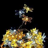 Guirnalda de 40 ledes decorativas de libélula a pilas / Plug in USB 8 modos con mando a distancia para bodas, fiestas, festivales, interior y exterior (alimentado por pilas)