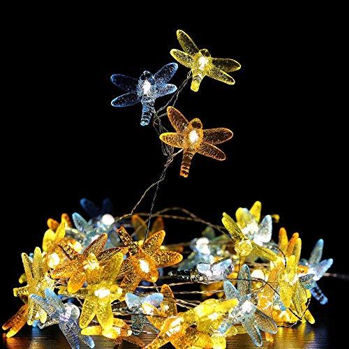 Guirnalda de 40 ledes decorativas de libélula a pilas / Plug in...