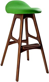 AINIYF Barstools,Dining Chair Nordic Simple, Leisure Creativity, High Chair Barstool Chair, Japanese-Style Front Desk, Solid Wood Bar Stool Backrest (Color, Orange 68cm, Size, A),Orange 75cm,A