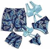 IFFEI Family Matching Swimwear Two Pieces Bikini Set Newest Printed Ruffles Mommy and Me Bathing Suits Women: M Blue