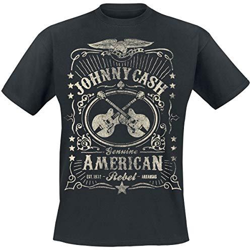 Johnny Cash American Rebel Männer T-Shirt schwarz XL 100% Baumwolle Band-Merch, Bands