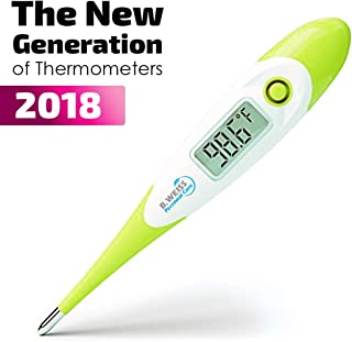 Best Digital Medical Thermometer Designed for Babies with Flexible tip by B. WEISS (Baby Adult and Toddler Termometro) Clinical Professional Oral Rect