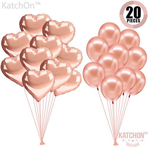 Rose Gold Balloons Decorations Kit - Pack of 20 - 10 Foil Mylar Heart Shape Ballons - 10 Latex Rose Gold Balloons -Valentines Day Decorations - Valentine Balloons for Birthday, Bridal Baby Shower