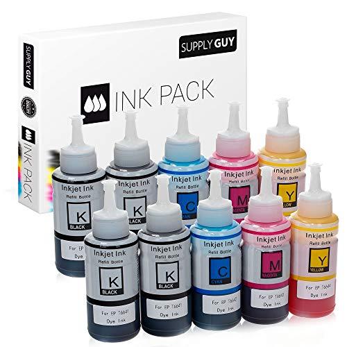 SupplyGuy Tinte kompatibel mit Epson 664 für EcoTank ET 14000 2550 2650 4500 L100 L110 L1300 L200 L210 L300 L3050 L3060 L3070 L310 L355 L361 L365 L382 L385 L386 L455 L485 L486 L555 L565 (10x 70 ml)