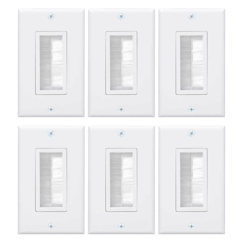 Wi4You Brush Wall Plate 1 Gang Cable Wall Plate Deco Insert 6 Pack for Low Voltage Cable Pass Networking Wires Audio Vedio HDMI HDTV Home Theater