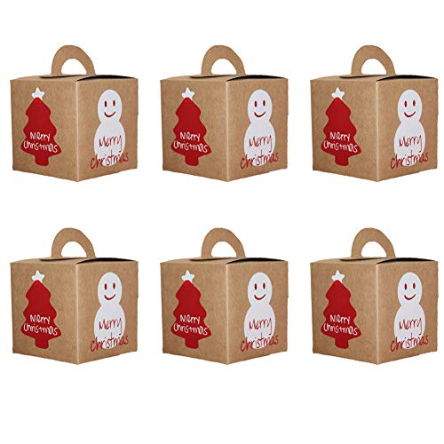 PRETYZOOM 6pcs Boxes Candy Box Kraft Paper Bags Goodie Bags for Christmas Holiday New Year Decoration