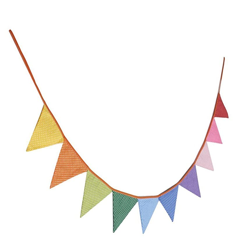 VORCOOL 10pcs Triangle Decoration Banner Flags Party Bunting Banners Polka Dotted