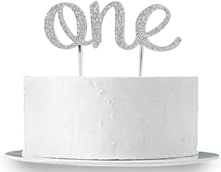 INNORU First Birthday Cake Topper - 1st One Birthday Party Supplies - Silver