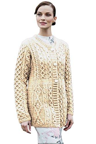 Siopa Irischen Aran Knit Cardigan Weiß S