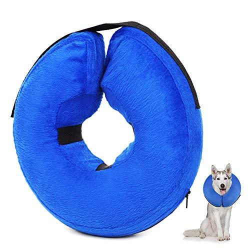 Gobesty Aufblasbares Halsband für Hunde, Schützender aufblasbarer Hundekragen Verstellbar Hundehalsband Große Schutzhalsband für Haustier Hund Nackenschutz Kissen, L(38-48cm)