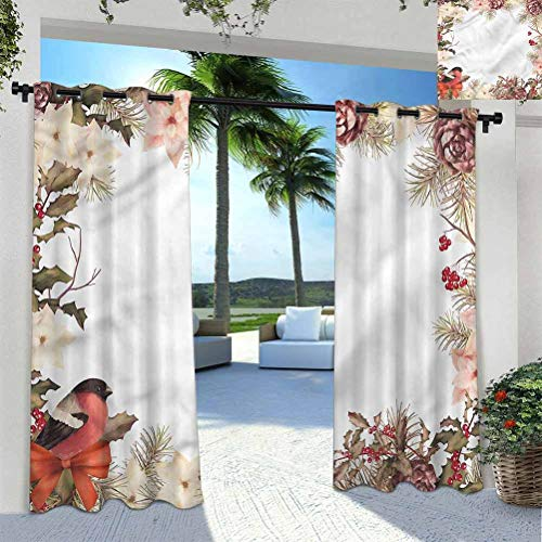 Anmaseven New Year Outdoor Sheer Curtain Pergola | Cabana |Backyard| Garden| Wedding Bullfinch with Cedar 96' W by 72' L