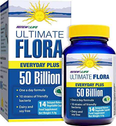 Renew Life Ultimate Flora Everyday Plus - 50 Billion Bacteria - 10 Strains - 1 Bottle x 14 Vegetable Capsules