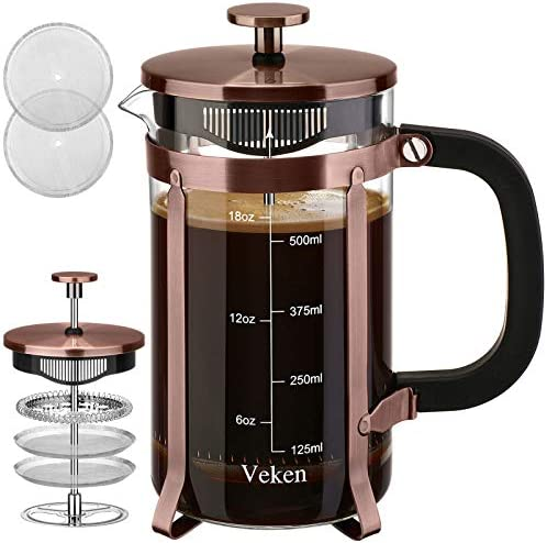 Veken French Press Coffee Maker 21 oz 304 Stainless Steel Coffee Press with 4 Filter Screens product image