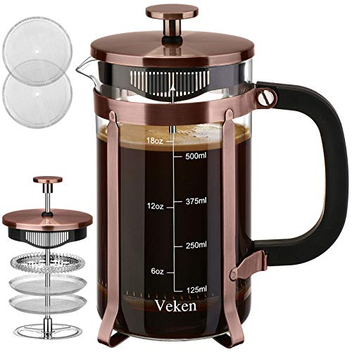 Veken French Press Coffee Maker (21 oz), 304 Stainless Steel Coffee Press with 4 Filter Screens, Durable Easy Clean Heat Resistant Borosilicate Glass - 100% BPA Free, Copper…