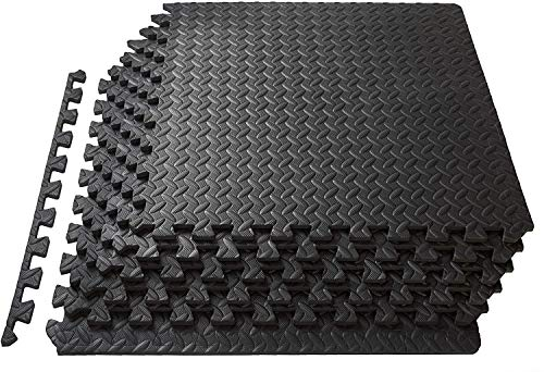 Epic Fitness EVA Foam Interlocking Exercise Gym Floor Mat Tiles, 1/2' Thick 24 Square Feet - Pack of 6 Tiles