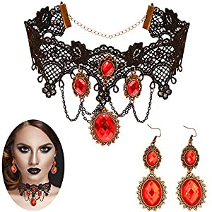 Skeleteen Gothic Vampire Jewelry Set - Black Lace Choker with Red Rhinestone Earrings Pirate Costume Accessories Set for Women and Girls