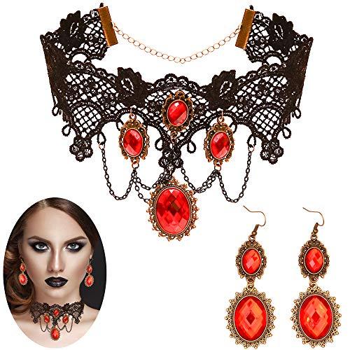 스켈레틴 고딕 뱀파이어 보석 세트 - 여성과 소녀를 위한 빨간색 라인스톤 귀걸이 해적 의상 액세서리를 갖춘 블랙 레이스 초커