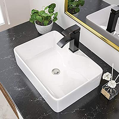 19''x15'' Rectangular Vessel Sink - Rectangle Bathroom Sink with Faucet Hole 19 inch Above Counter White Ceramic Countertop Bathroom Vessel Vanity Sink Art Basin