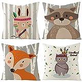 Fundas de Cojín, Funda de Almohada Lino Decorativa Animales de Dibujos Animados Coloridos con Cremallera Invisible, 50x50cm, Juego de 4 Funda de Cojines para Sala de Estar Sofás