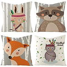 Fundas de Cojín, Funda de Almohada Lino Decorativa Animales de Dibujos Animados Coloridos con Cremallera Invisible, 40x40cm, Juego de 4 Funda de Cojines para Sala de Estar Sofás