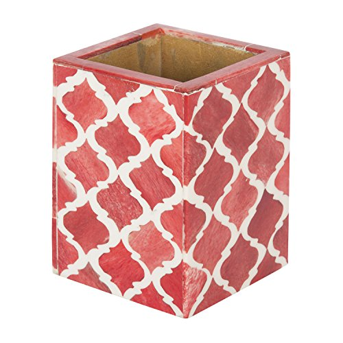 Moroccan & Moorish Art Inspired Desktop Pen & Pencil Holder Cups Office Supplies Organizer Caddy 4x3x4 Inches Red – Christmas Gifts