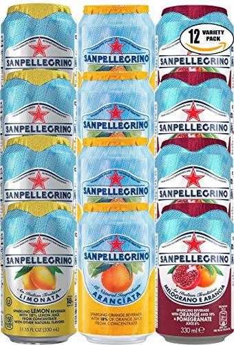 San Pellegrino Variety Pack! Lemon, Orange, Orange and Pomegranate Natural Sparkling Fruit Juice, 11.15oz Can (4 x 3 Flavors, Total of 12 Cans)