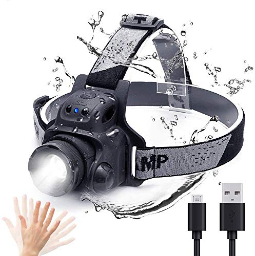 N N.ORANIE Linterna Frontal LED Impermeable USB Recargable Luminancia 300LM Distancia de...