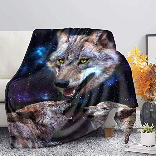 ZGZZD Sofa Throw Blankets,Winter Soft Warm 3D Print Sofa Throw Blanket Novelly Chic Dark Blue Starry Wolf Animal Printed King Size Fluffy Blanket For Bed Couch Camping Travel,110X140Cm