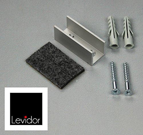 LEVIDOR ® Glasschiebetür Bodenführung aus Aluminium. Fertig zur Installation, für Glastüren von 8-10 mm Stärke. Anzahl Lieferung: 1 Dank Filzeinlage sehr ruhiger Lauf des Glases garantiert