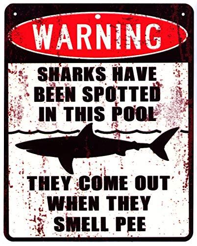 Moritz Blechschild Warning Sharks in This Pool Hai 20 x 25 cm Deko Schild mit Aufdruck Aufschrift